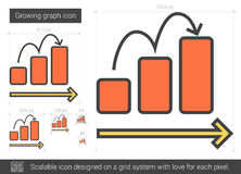 Growing graph line icon. Royalty Free Stock Photo