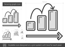 Growing graph line icon. Royalty Free Stock Images