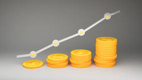 Growing graph modern coins. Modern coins dollar for use in presentations, education manuals, design, etc. 3D illustration Stock Photos