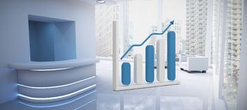 Composite image of growing graph symbol. Growing graph symbol against modern room overlooking city Stock Photo
