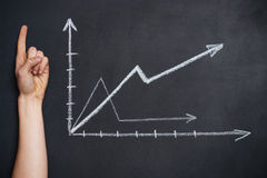 Growing graphs drawn on blackboard Stock Photo