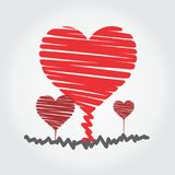Growing heart with true love logo. Red grow heart for your love, your friend, family and world Royalty Free Stock Photos