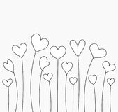 Hearts growing white card. Growing hearts for coloring. Valentine`s Day illustration Royalty Free Stock Photography