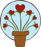 Growing Hearts Plant. An Illustration of Hearts growing in a pot Royalty Free Stock Photography