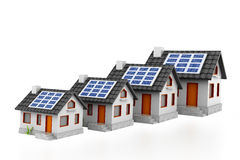 Growing home sale graph with solar panels Royalty Free Stock Image