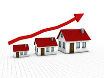 Growing housing market. Chart that show growing of housing market Stock Images