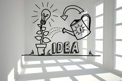 Growing idea graphic in bright room Royalty Free Stock Photography