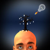 Growing ideas. Man with tree of light bulbs and rocket idea Stock Photo