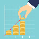 Growing income graph vector illustration Royalty Free Stock Image