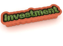 Growing investment. The word Investment made of growing grass in a planter Stock Photo