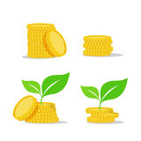 Growing investment coin money and green leaf - flat icon Royalty Free Stock Photo