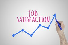 Growing job satisfaction concept on white board. Businessman draw accelerating line of improving job satisfaction stock images