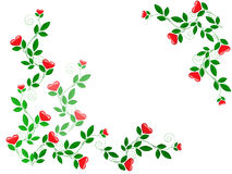 Growing leaves with heart. Growing green leaves with red hearts Stock Photos