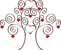 Growing love. Love tree with red hearts Stock Photo