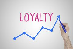 Growing loyalty concept on white board. Businessman draw accelerating line of improving loyalty against whiteboard. royalty free stock photo