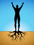 Growing man. Concept of a growing man Royalty Free Stock Images