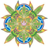 Growing marijuana leaf kaleidoscope symbol  Royalty Free Stock Photography