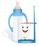 Growing milk-tooth with feeding-bottle. Cartoon illustration from teeth care concept, cute colt's tooth with nursing bottle Stock Photos