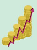 Growing money. A graphic showing growing money, vector illustration Royalty Free Illustration