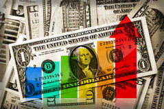 Growing money. Financial business graph indicates growth on retro styled background with US dollars Stock Image