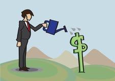 Growing Money Business Metaphor Vector Cartoon Illustration Stock Images