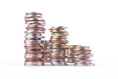 Growing money graph on a row of coin and pile of bath coins stack  on white background finance business isolated Royalty Free Stock Photos