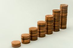 Growing mountain of coins in denomination of two euro cents  on white background Stock Images