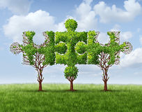 Growing Network. Connection with a group of three trees in the shape of jigsaw puzzle pieces united and meeting together to form a strong stable financial team Royalty Free Stock Images