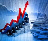 Growing oil chart and price Royalty Free Stock Images