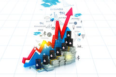 Growing oil chart and price Stock Image