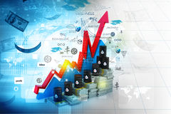 Growing oil chart and price Royalty Free Stock Photos