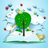 Growing, open book with surreal landscape. Growing, open book with tree, birds and surreal landscape. Vector illustration eps10 vector illustration