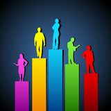 Growing Organisation. Illustration of people standing on growing bar graph royalty free illustration