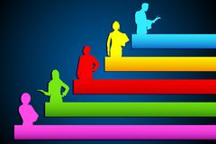 Growing Organisation. Illustration of people standing on growing bar graph stock illustration
