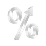 Growing percent symbol. Royalty Free Stock Photo