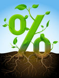 Growing percentage symbol like plant with leaves and roots Royalty Free Stock Images
