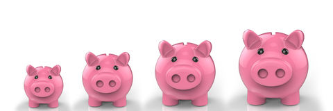 Growing piggy bank Royalty Free Stock Photography