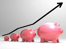 Growing Piggy Shows Financial Growth Stock Images