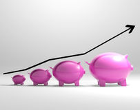 Growing Piggy Shows Increased Savings Royalty Free Stock Photography