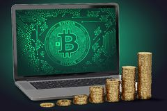 Growing piles of golden Bitcoin laying on computer keyboard. Bitcoin growing value concept. 3D rendering Stock Photography