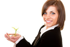 Growing plant with coins in hand Stock Images