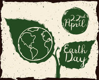 Growing Plant with Earth Day Message in Sketch Style, Vector Illustration Royalty Free Stock Photos