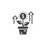 Growing plant, flower with dollar sign icon vector, filled flat sign, solid pictogram isolated on white. Investment symbol, logo illustration Stock Image