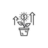 Growing plant, flower with dollar sign line icon, outline vector sign, linear pictogram isolated on white. Royalty Free Stock Photo