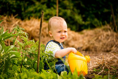 Growing plants - baby with watering can Royalty Free Stock Image