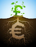 Growing pound sign like plant with leaves and euro like root Royalty Free Stock Image