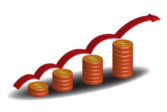 Growing price. Abstract colorful background with coins ascending and a red arrow jumping over the coins in an ascendant direction Stock Image