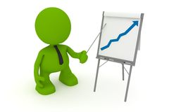 Growing Profits. Illustration of a businessman presenting at a flipchart showing a positive trend.  Part of my cute green man series Royalty Free Stock Photos