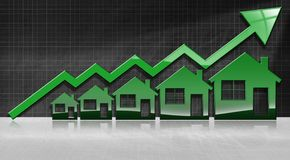 Growing Real Estate Sales - Graph with Houses. Growing real estate sales - 3D illustration of five house-shaped symbols and a graph of growth with a green arrow Stock Photography
