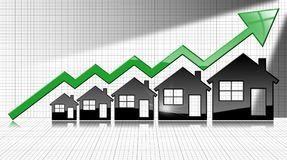 Growing Real Estate Sales - Graph with Houses. Growing real estate sales - 3D illustration of five house-shaped symbols and a graph of growth with a green arrow Stock Images
